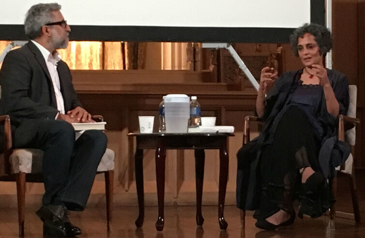 Ali Kazimi interviewing Arudhati Roy in Toronto