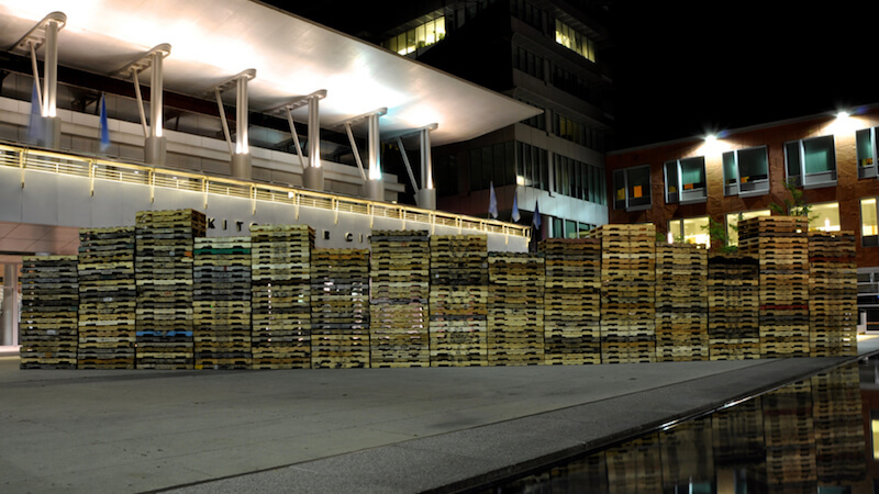 Cultured Pallets KW stenciled recycled wooden pallets approx. 60ft x 5inx 40in, 2011