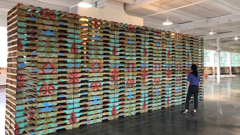 Cultured Pallets SAIB acrylic on wooden pallets 300 in x 115in x 40 in 2018 install view