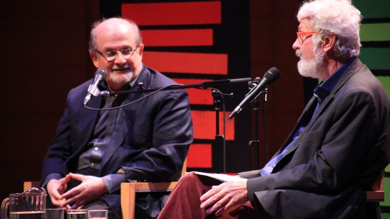 Salman Rushdie (left) in conversation with Hal Wake. Image: Vancouver Writers Fest.