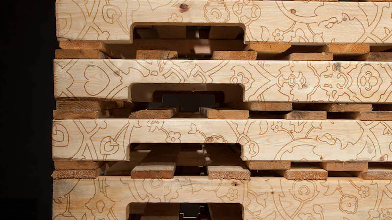 My Place is Placeless laser-etched wooden pallets  10ftx 12ftx 40in 2013 detail