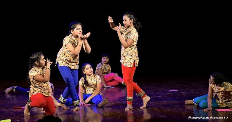 Punyakoti, 'In my story, Krishna saves the cow.' From left to right - Tasmai, Vindhya, Kalyani, Suha, Greeshma and Ananya. KEA Prabhath Rangamandira Auditorium, Bangalore, February 23, 2019.
