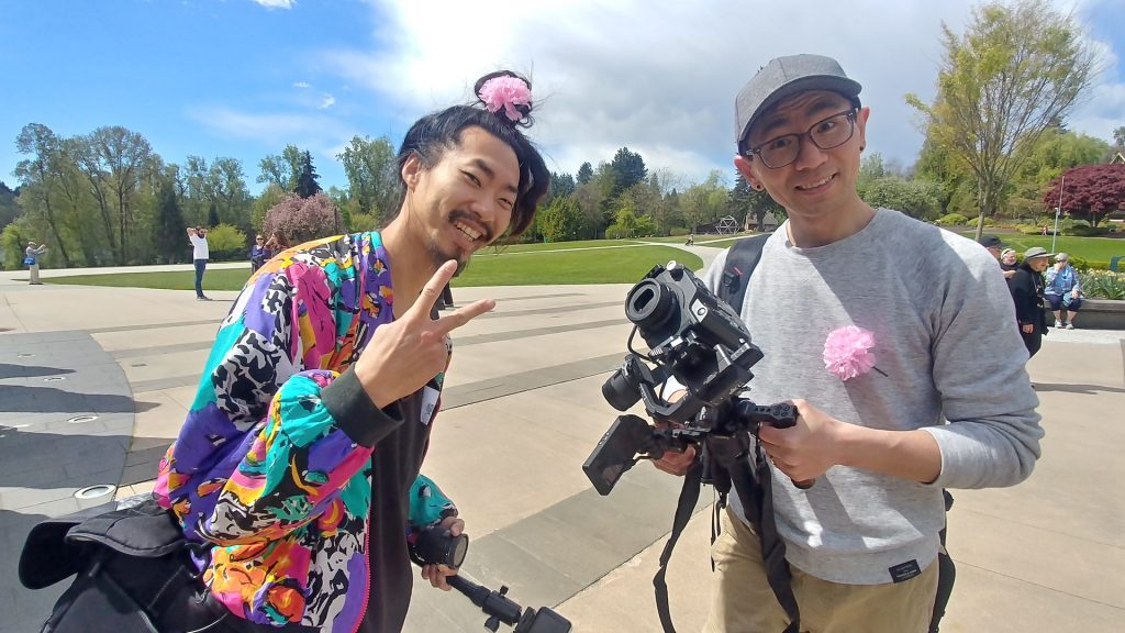 Sammy Chien and Alfonso Chin on site filming. Photo by Rod Matheson