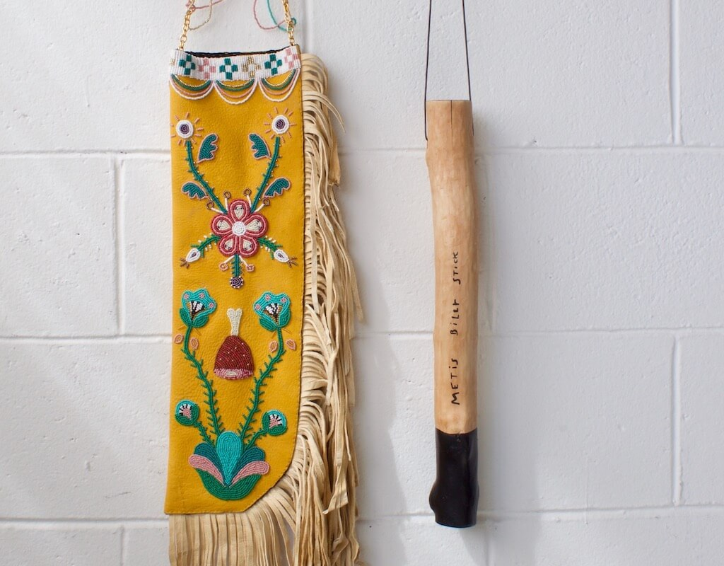 'for hambone, metis billy stick' - seed beads, brain tanned hide, leather, wood, acrylic paint, chain