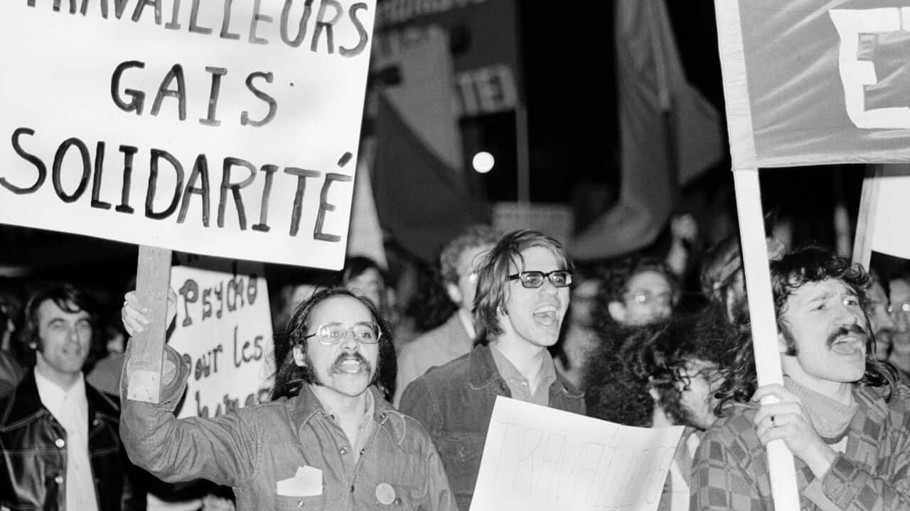 Early Pride march, Montreal, c. 1972.