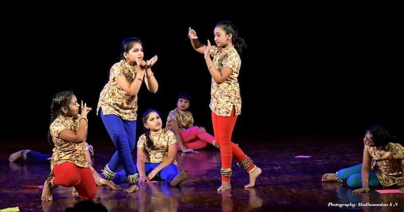 Punyakoti, 'In my story, Krishna saves the cow.' From left to right - Tasmai, Vindhya, Kalyani, Suha, Greeshma and Ananya. KEA Prabhath Rangamandira Auditorium, Bangalore, February 23, 2019.