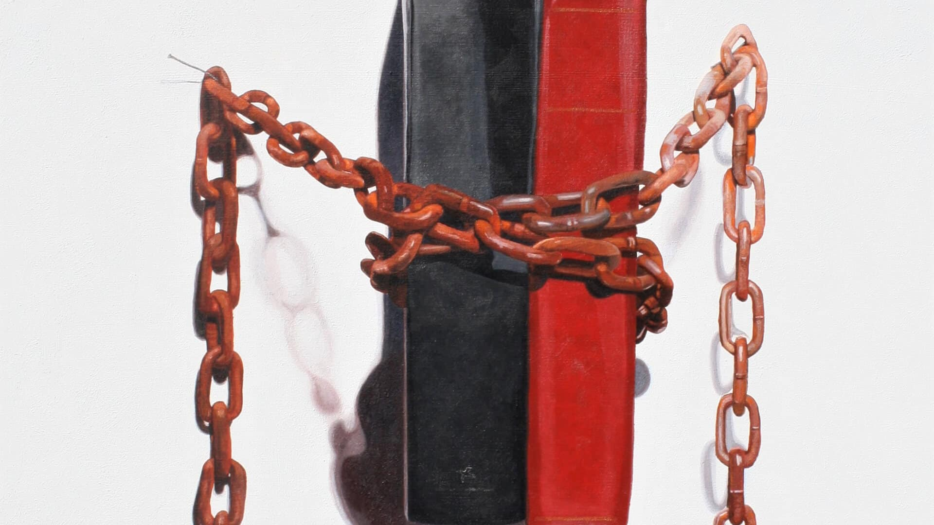 The Same Chains. 91 x 76 cm. Acrylic on canvas 2020. Artist: David Garneau.