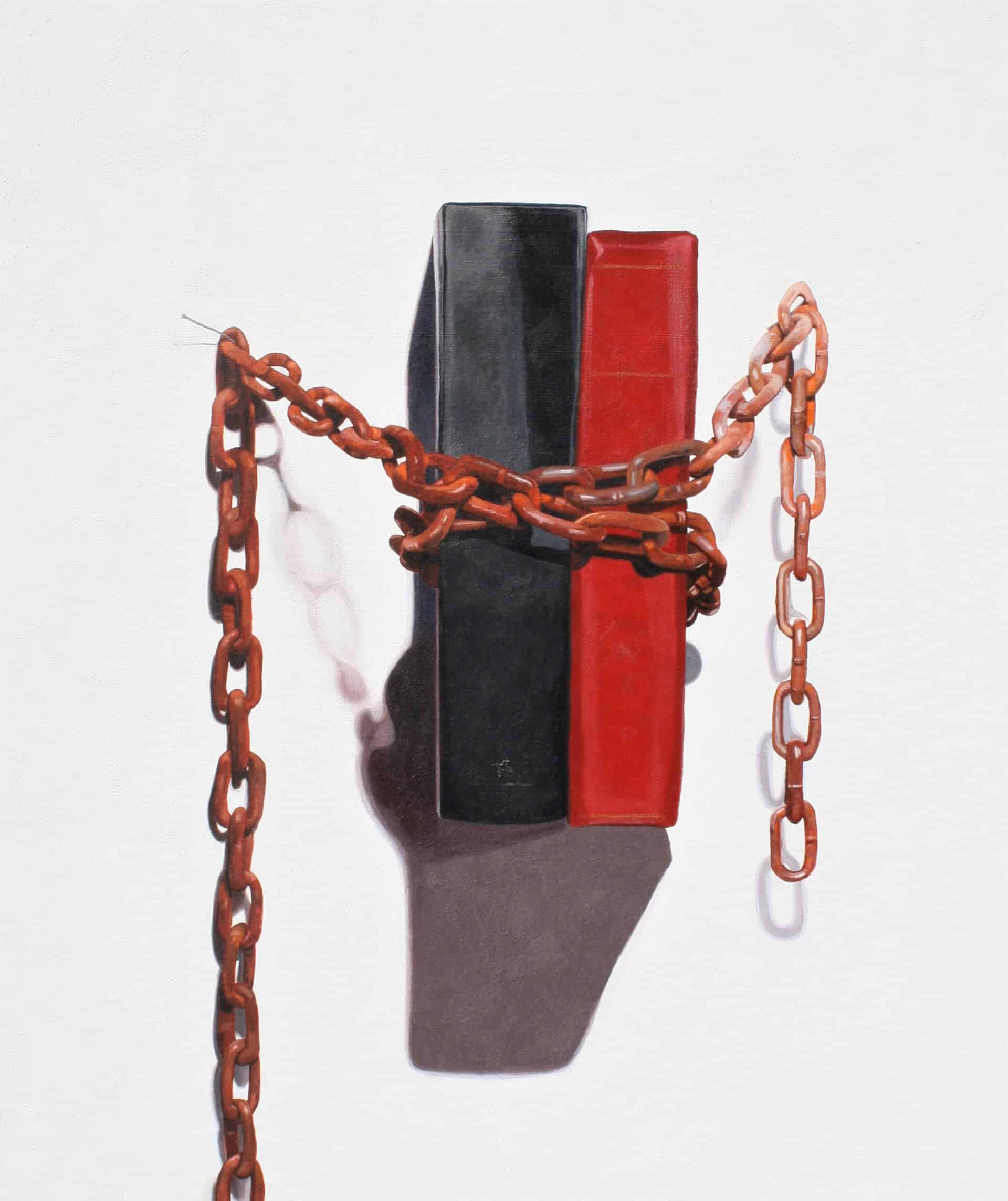 The Same Chains. 91 x 76 cm. Acrylic on canvas 2020. Artist: David Garneau.