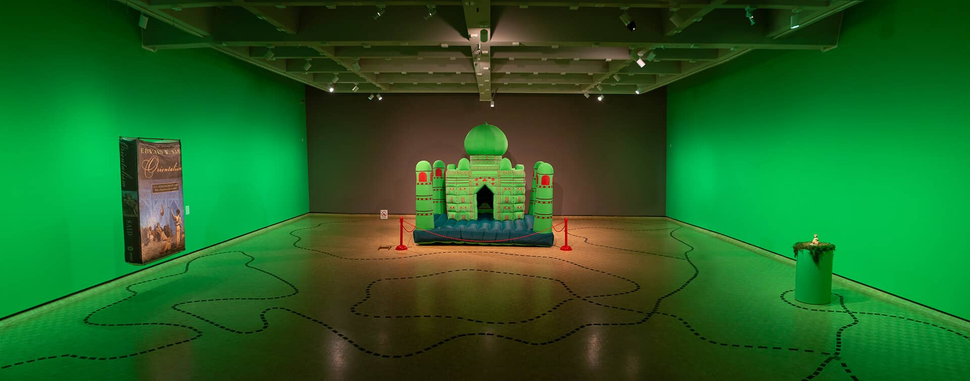 Composite from Ladder: Installation view, Divya Mehra: From India to Canada and Back to India (There is nothing I can possess which you cannot take away), 2020, MacKenzie Art Gallery. Photo by Sarah Fuller. Image courtesy the artist and Georgia Scherman Projects.