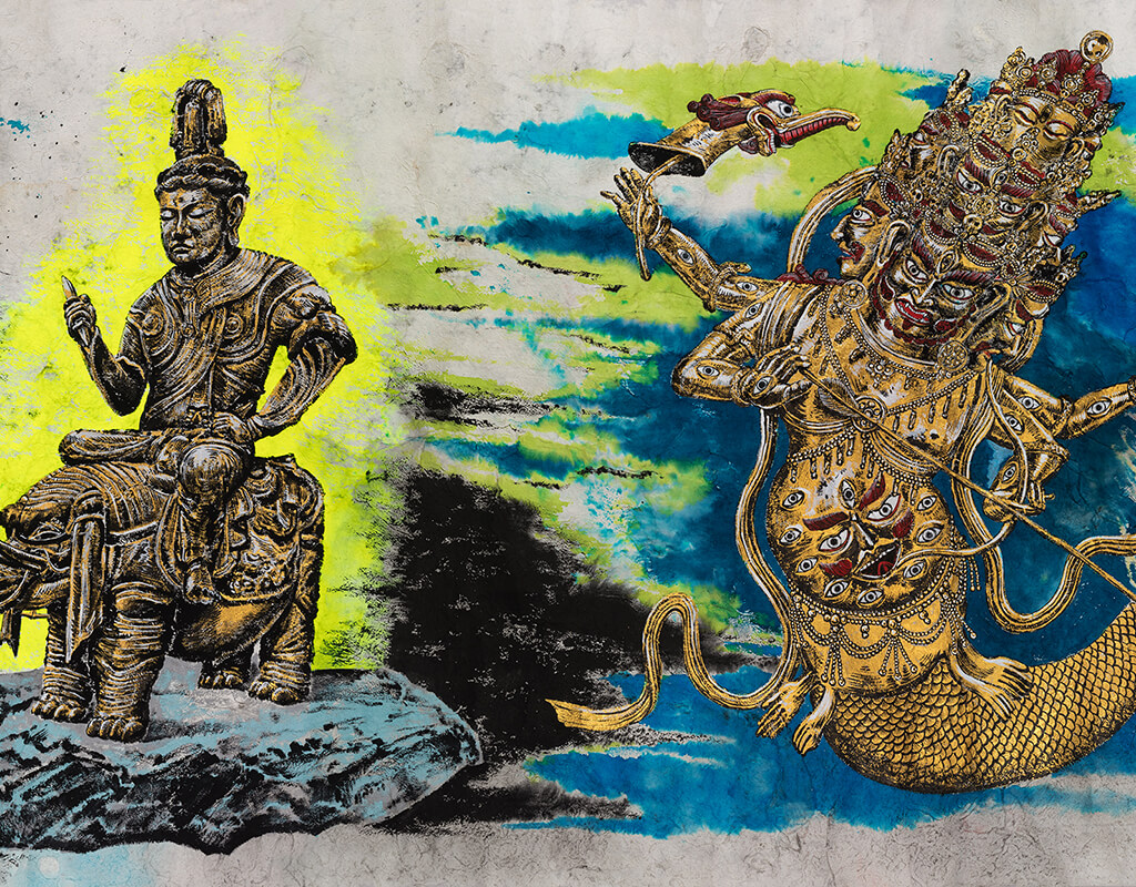 Sun Xun, Mythology or Rebellious Bone, 2020 (detail), ink, gold leaf, natural colour pigment on paper. Courtesy of the Artist and ShanghART Gallery.